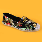 Jutefaser-alleiniger Blumen-Drucken-Beleg der Form-Frauen auf Espadrille-Schuh-Schwarzem