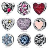 Lo Zirconia cubico CZ di colore rosa di 925 dell'argento sterlina del cuore del branello fascini della Pandora ferma i monili con una graffetta del braccialetto misura fascini