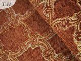 Tela rojo marrón 100% del sofá del telar jacquar del Chenille del poliester 2017