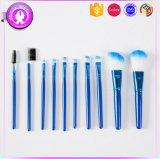 голубой косметический комплект щетки состава 10PCS с кожей PU