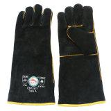 Перчатки заварки черной руки Cowhide теплостойкfGs защитные с Ce