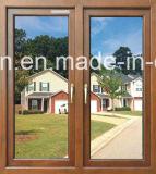 Окно Coated деревянного цвета порошка алюминиевое двойное стеклянное