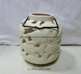 Ceramic Cream Lantern with Metal Lantern for Home/Garden Decoration