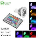 가정 훈장을%s 먼 관제사를 가진 3W RGB LED 스포트라이트 전구 E27 GU10 MR16 AC85-265V RGB LED 램프