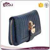 De Levering voor doorverkoop van de Beurs van de Vrouwen van het Leer van de Kleur Pu van de portefeuille RFID, Blauw en Grijze