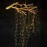 Hauptleitungen angeschaltene silberne Draht-Wasserfall-Zeichenkette beleuchtet 5 Zweig 100 LED