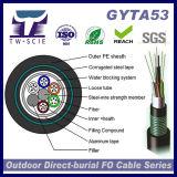 Double desserré de câble optique de fibre de tube GYTA53 blindé avec la bande en acier, PE noir