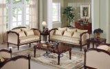 Cadeira clássica do assento de amor da antiguidade do sofá da tela com frame de madeira para a mobília Home