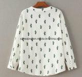 Camicia stampata del poliestere delle donne