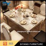Tabela de jantar de mármore da mobília do aço inoxidável com 6 povos