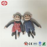 Scimmia molto piccola della peluche con il giocattolo bello del Velcro di figura dei jeans