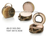 Caixa elegante da jóia do estilo do leopardo com bandeja