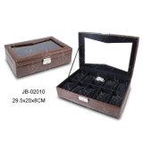 Casella di legno di cuoio elegante della cassa per orologi dell'unità di elaborazione del MDF di vendita calda