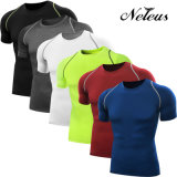 Compresión de fitness Neleo de los hombres de la ropa del desgaste gimnasia Camiseta Dt0801