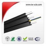 3 cabo ao ar livre, cabo preto da fibra óptica dos fios de aço FTTH da rede da fibra óptica