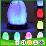Lampada Himalayan di cristallo bianca del sale con l'indicatore luminoso di notte