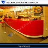 أحمر رخاميّة حجارة مطعم قضيب تصميم حديثة [فست فوود] عداد مطعم عداد