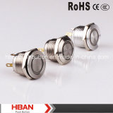 HBAN (19mm) CE RoHS Ring-iluminación plana de metal Button Switch