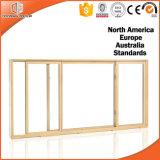 Ventana de deslizamiento, ventana de desplazamiento de madera sólida, ventana de desplazamiento revestida de madera de la aleación de aluminio con hardware americano de la marca de fábrica