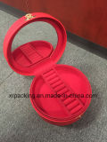 Circular Leather Jewelry Boxes Ring Box with a Mirror