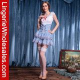 Kostuum van het Meisje van de Rok van de Gingang van vrouwen het Witte en Blauwe Tiered Sexy Franse