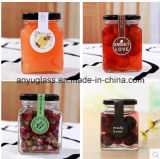 Vaso di vetro di memoria della conserva quadrata per miele, alimento e salsa