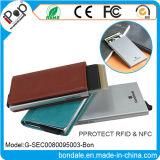 Suporte de cartão de alumínio de couro do protetor do plutônio com carteira