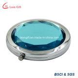 파란 다이아몬드 콤팩트 둥근 메이크업 미러