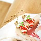 Brincos de gota vermelhos da meia do Natal do esmalte com mini Rhinestone Brinco
