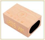 Chargeur sans fil/horloge/alarme/température de Bluetooth de support sans fil en bois de haut-parleur (ID6028)