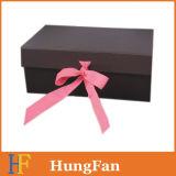 Cadre de empaquetage compressible rigide de luxe magnétique noir fait sur commande/cadre pliable/boîte-cadeau de papier