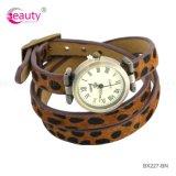 Reloj de la correa de la pulsera del cuero de la manera de la venta al por mayor del grano del leopardo del estilo del sexo