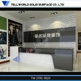 Diseño superficial sólido de acrílico comercial del escritorio de recepción del frente de la oficina (TW-MART-099)