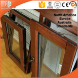 Ventana de aluminio de madera del final de grano, ventana de madera revestida de aluminio plegable del marco de la maneta inestable del estilo americano
