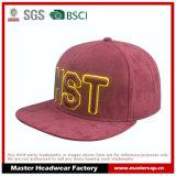 Chapéu de Snapback Brim de borda emaranhado vermelho de camurça 3D