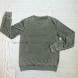 Premium grigio dell'uomo tinto intorno alla maglietta felpata del collo nel ponticello di usura del Knit di sport copre Fw-8667