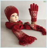赤い冬の秋に暖かい方法に新しい円ジャカードアクリルのウールによって編まれる帽子の手袋のスカーフセットを機械で造らせる