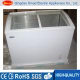 구부려진 슬라이드 유리 냉장고 유리제 문 전시 냉장고