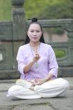 道教Taiのキーのばね及び夏の中国のハンの亜麻斜めカラーコート