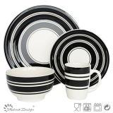 Sistema de cena de cerámica del círculo negro