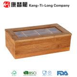 Compartiments également divisés en bambou de la boîte de stockage de thé 8