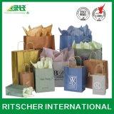Sacs en papier réutilisés personnalisés de cadeau d'achats d'impression avec des traitements