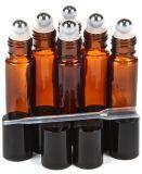 янтарный стеклянный крен 10ml на бутылках с шариками ролика нержавеющей стали и черными крышками