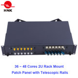 "24~48のコア19 "" 1u/2u Fiber Optic Rack Mount Patch Panel ODF"