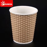 La piña del diamante tiene gusto de la taza de papel de Kraft del café