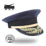 Empfindliche kundenspezifische Marine-Offizier-Schutzkappe mit Blatt-Stickerei