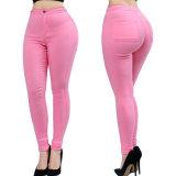 Pantalones ocasionales flacos del algodón del tipo de tela de algodón del color de las mujeres de la alta calidad del OEM