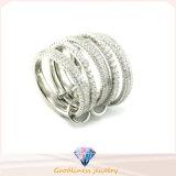 925 partido de la joyería zirconia cúbico manera de las mujeres anillo de plata (R10243)