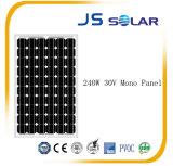 2016よい販売! 良質の240W公認の黒いモノクリスタル太陽電池パネル