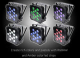 12X10W 12W 15W Rgbwauv Alimentado por bateria sem fio LED Flat PAR Up Light